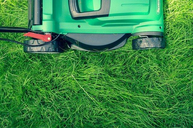 trávník a sekačka na trávu