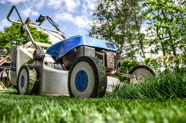 sekačka na trávníku