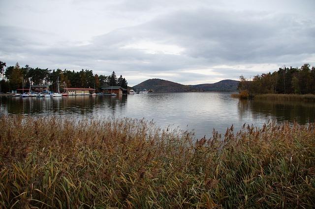 pohled na kopce a loděnici u Máchova jezera